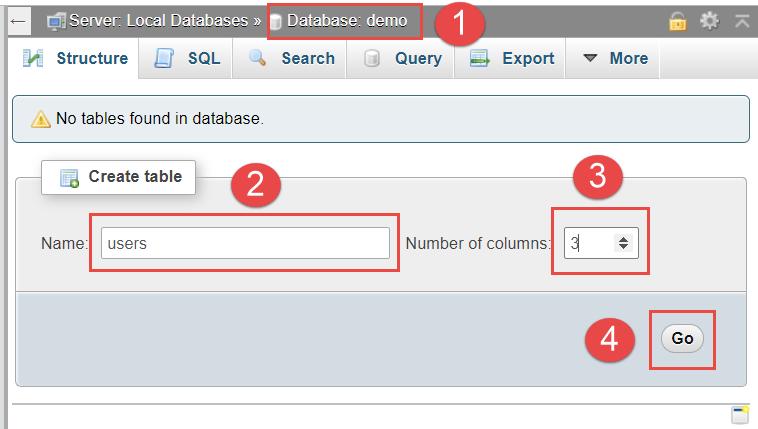 5 tao table bang trong phpmyadmin 1 5bd3ce6b577f0 Localhost/phpmyadmin là gì? hướng dẫn cách sử dụng cơ bản