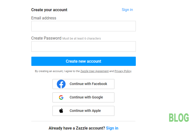 Hình 3. Người dùng đăng ký hoặc đăng nhập Zazzle qua Facebook, Google hay Apple