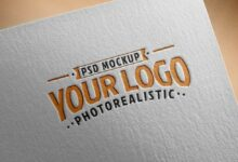 Free Download Paper Logo Mockup